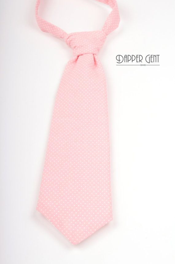 Pink Dot Boys Neck Tie  Pre-tied adjustable neck   Blush pink polka dot neck tie for ring bearer or junior groomsmen