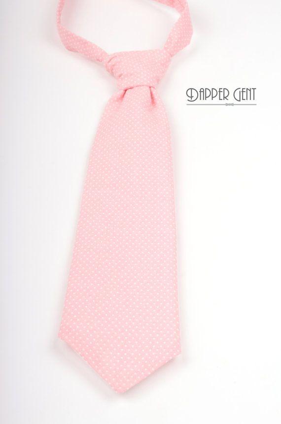 Pink Dot Boys Neck Tie  Pre-tied adjustable neck   Blush pink polka dot neck tie for ring bearer or junior groomsmen