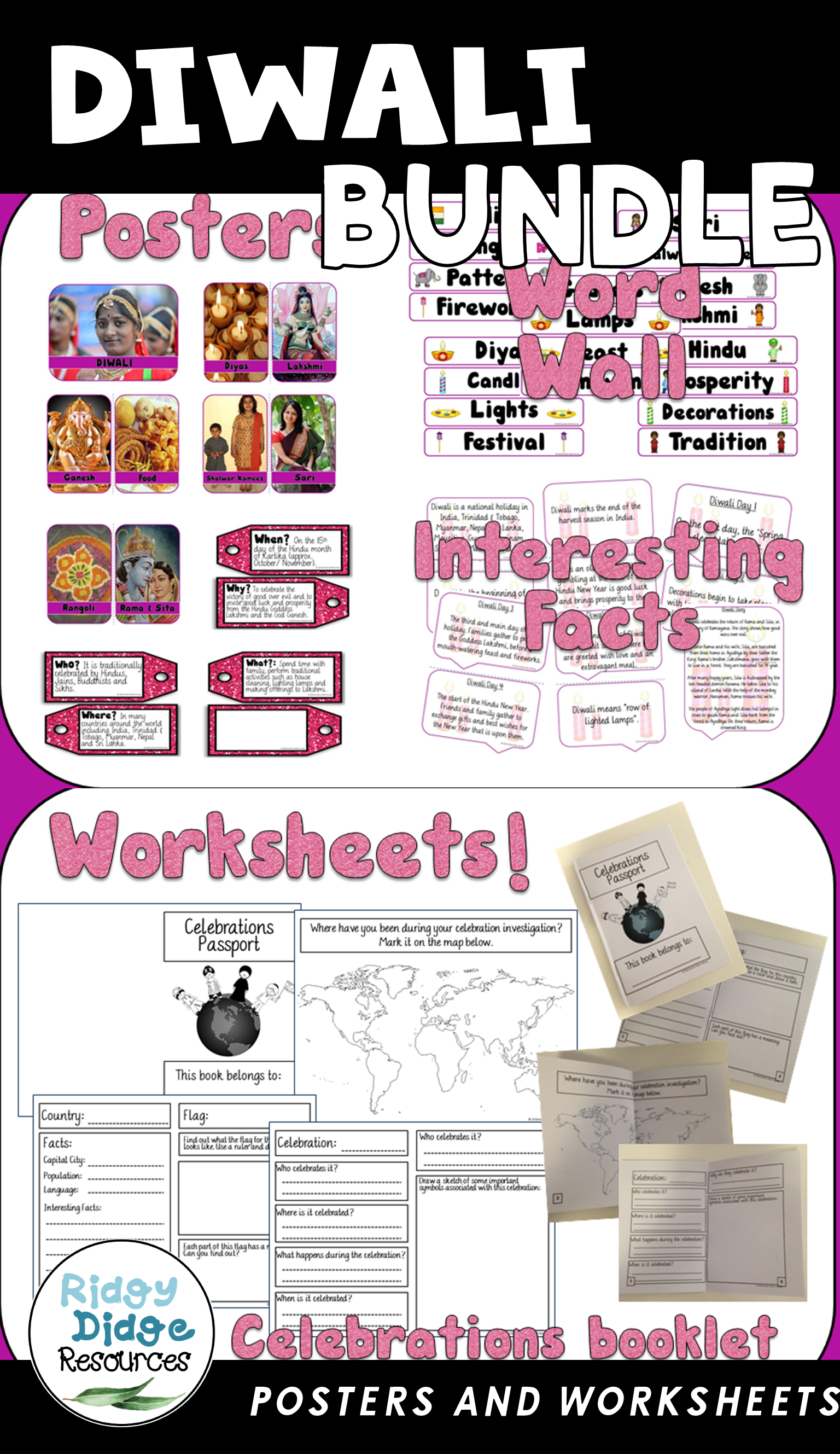 Diwali Celebration Posters Word Wall And Student Workbook