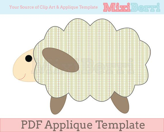 34cd9bedac1d08 Sheep Applique Template PDF by MixiBerri on Etsy