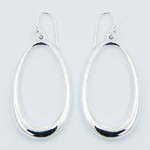 Silver earrings hook drop 925 sterling silver oval dangle 46mm height new PSA