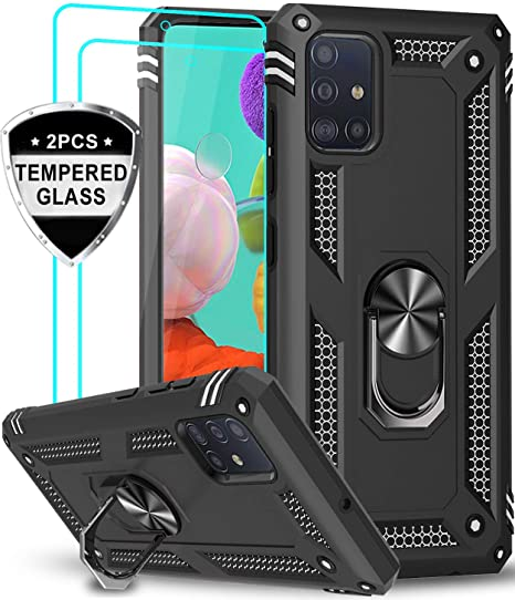 Samsung Galaxy A71 Case With Tempered Glass Screen Protector 2 Pack Leyi Military Grade In 2020 Phone Cases Protective Kickstand Tempered Glass Screen Protector