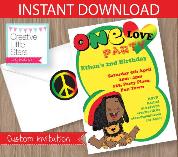 Reggae one love invitation editable instant download 5x7 reggae one love invitation editable by creativelittlestars bookmarktalkfo Image collections