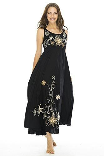 3a0ffad2e8f1 Back From Bali Womens Boho Maxi Summer Dress Sleeveless Empire Waist  Embroidery