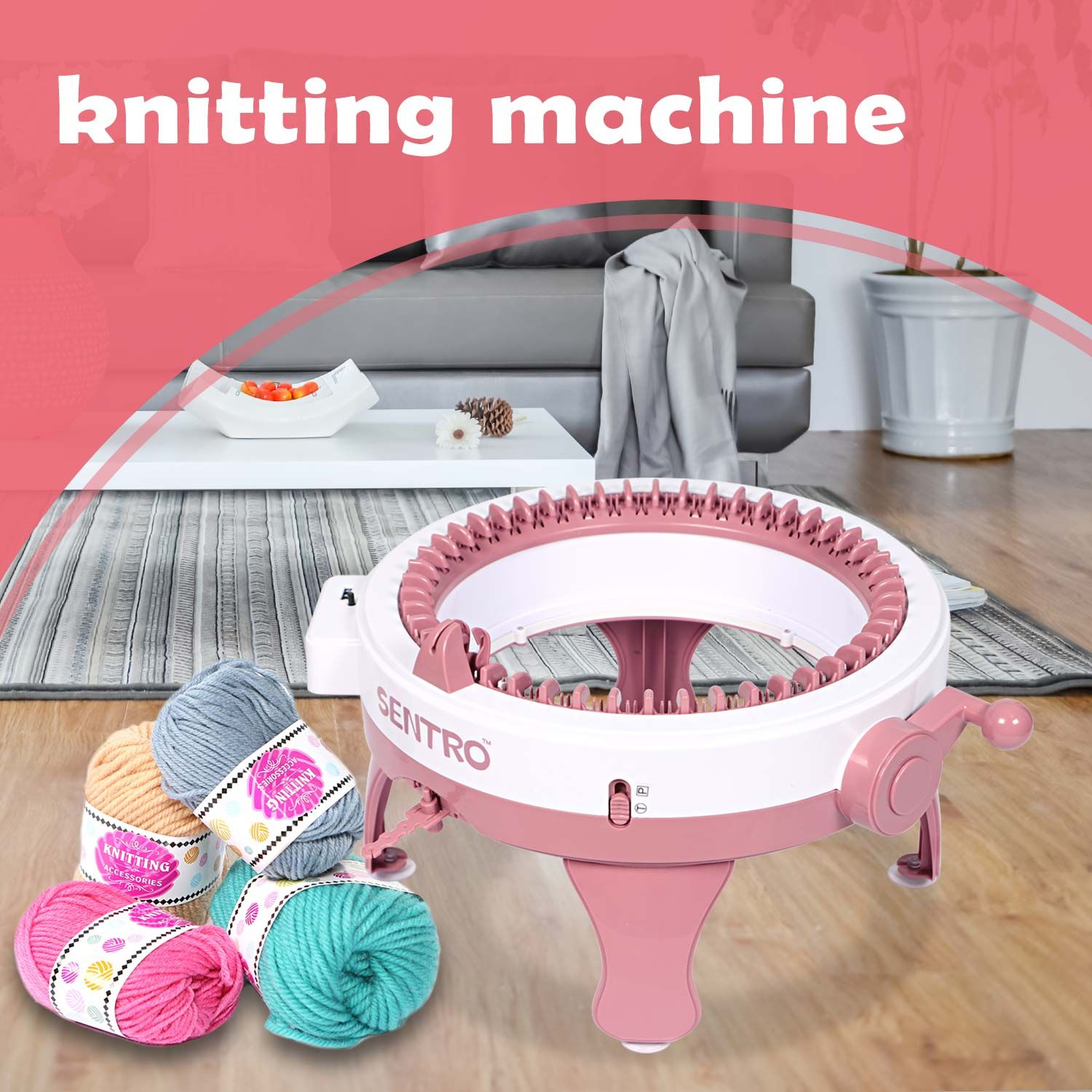 Knitting Machine 40 Needles Smart Weaving Loom Round Knitting Machines Knitting Loom Machines Kit Weaving Loom for Adults or Kids Knitting Board Rotating Double Knit Loom for Sock//Hat//Pumpkin