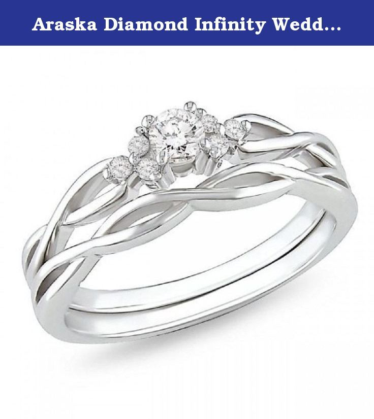 Araska Diamond Infinity Wedding Ring Set In 10k White Gold Fn 5 6 7 8 9 10 All Middle Size With Images Infinity Ring Wedding Infinity Wedding Ring Set Wedding Ring Sets