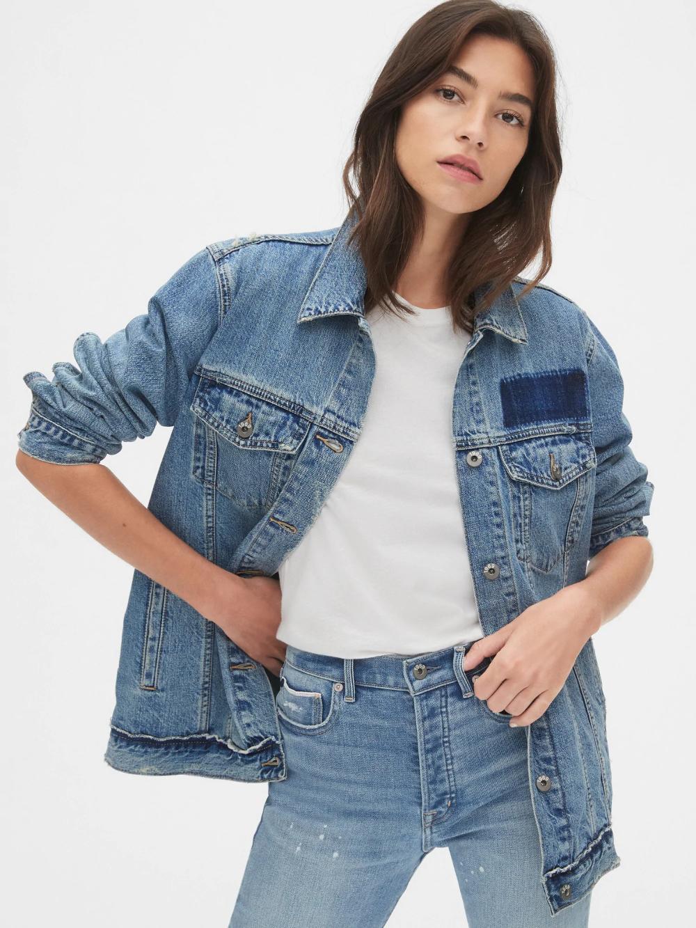 Oversized Icon Denim Jacket Gap Coats Jackets Women Denim Jacket Stylish Outerwear [ 1333 x 1000 Pixel ]