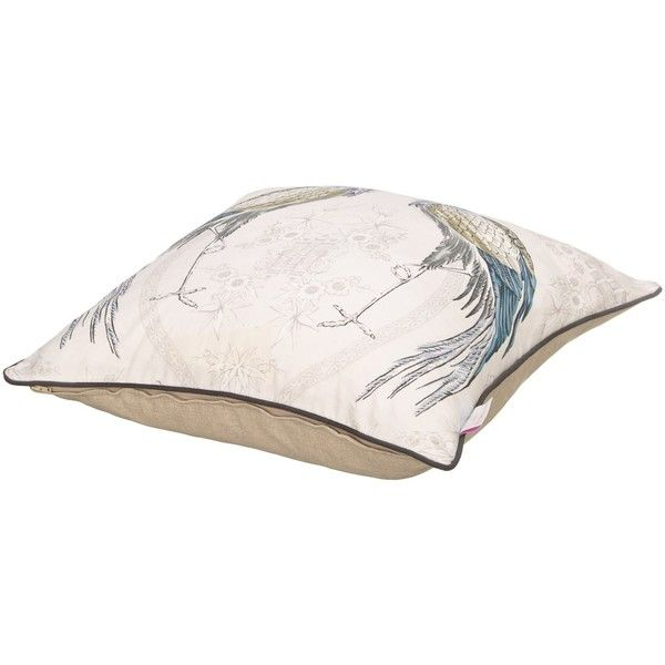 Wedgwood by Blendworth Fabled Crane Cushion ($9.02) ❤ liked on Polyvore featuring home, home decor, throw pillows and wedgwood
