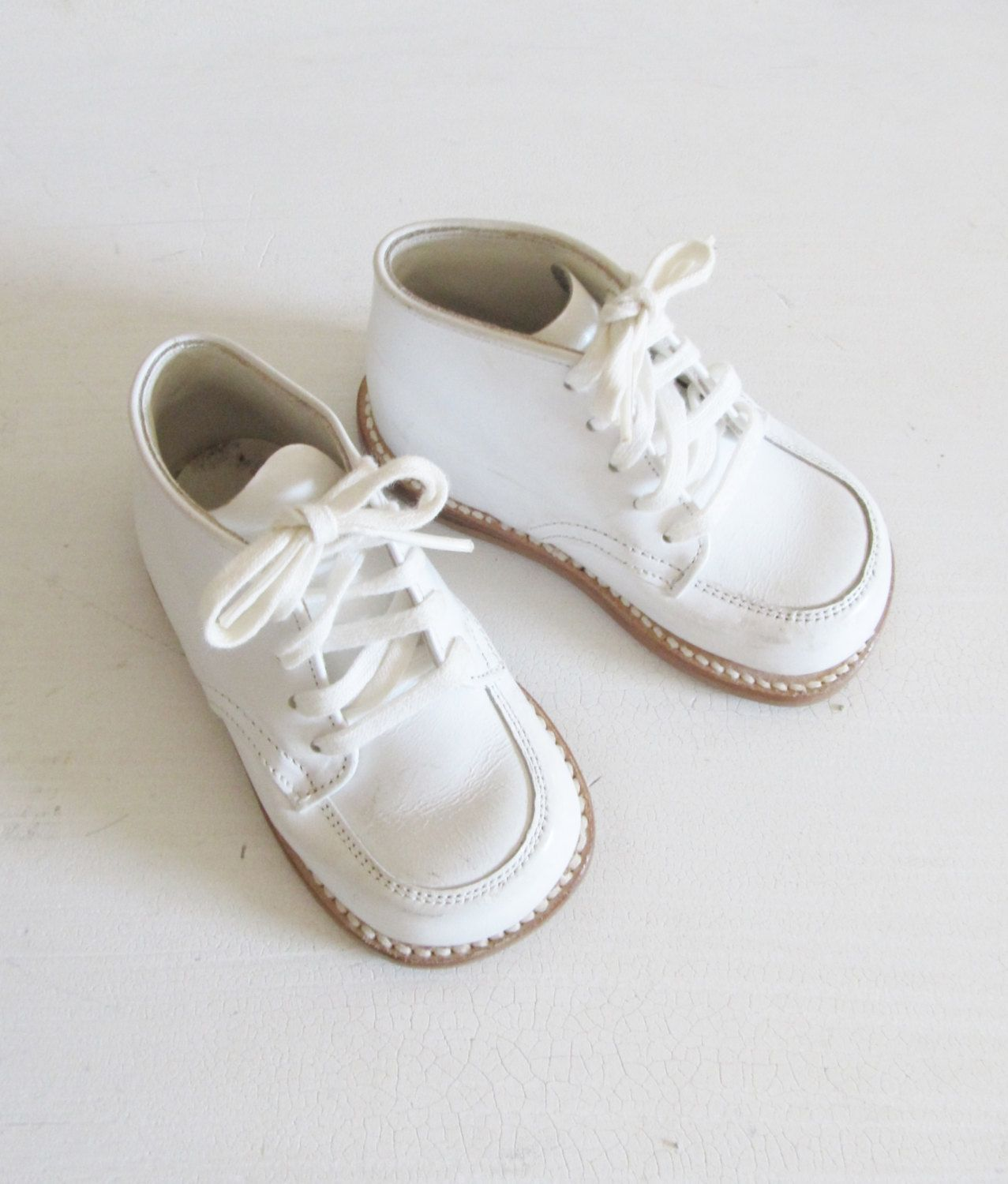 Vintage Baby Infant Shoes   60 s White Leather Custom High Top Shoes   JC  Penney Baby 1dc7748eb