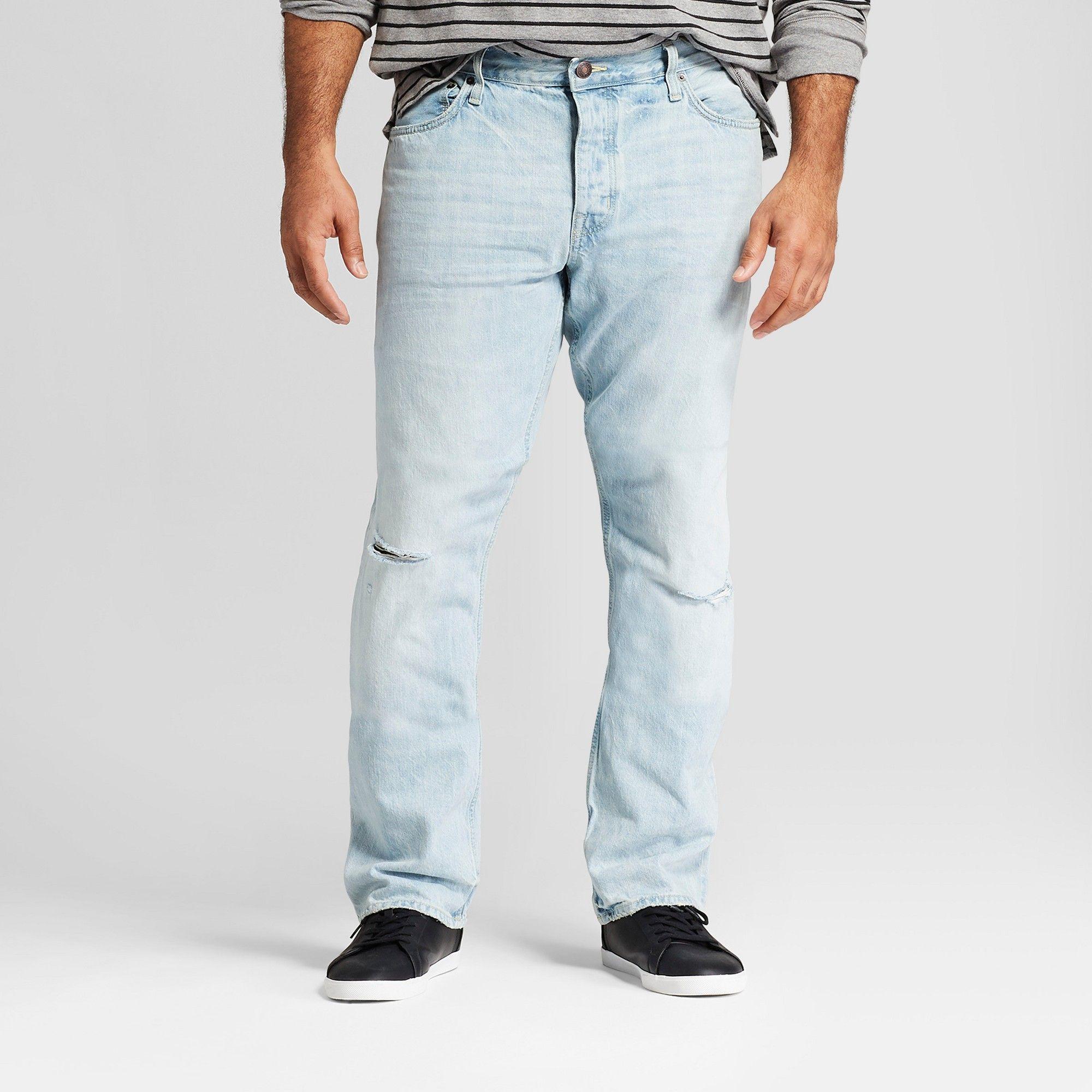 8f7b930c Men's Tall Slim Straight Fit Selvedge Denim Jeans - Goodfellow & Co Light  Wash 31x36, Blue