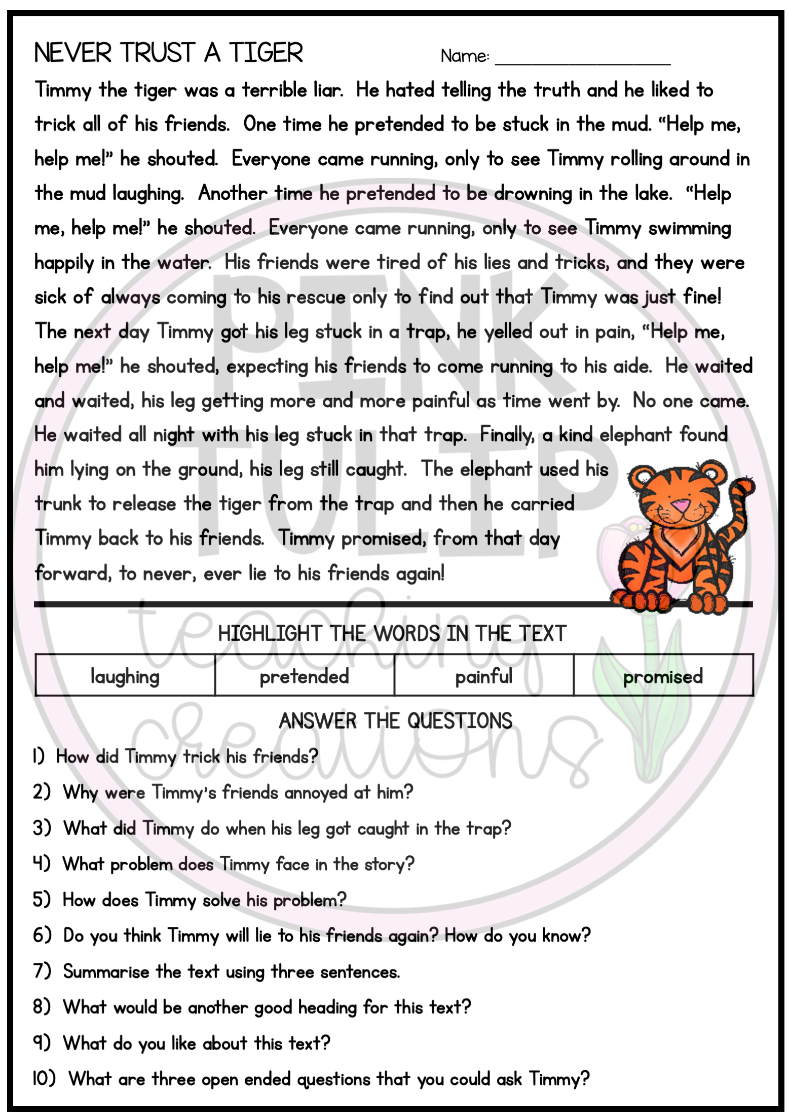 10 Page Reading Comprehension Worksheet Pack With Answers Comprehension Worksheets Reading Comprehension Worksheets Reading Comprehension [ 2203 x 1557 Pixel ]