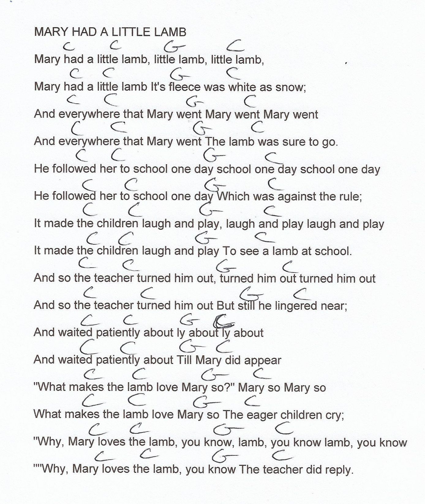 mary had a little lamb guitar chord chart in c major [ 1388 x 1648 Pixel ]