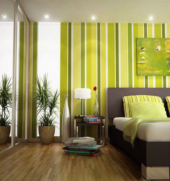 Green Bedroom with Stripped Wallpaper | Decor ideas | Pinterest ...