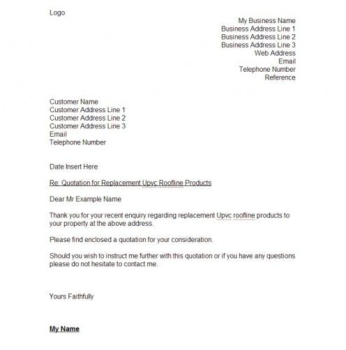 Page one of a typical quotation letter I would send to a customer