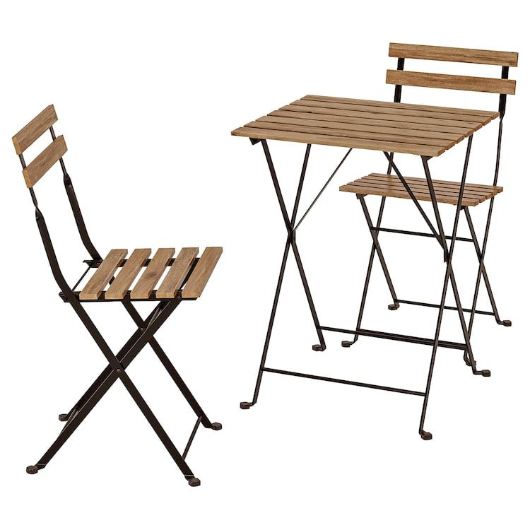 Ikea Tarno Black Acacia Gray Brown Stained Steel Table 2 Chairs