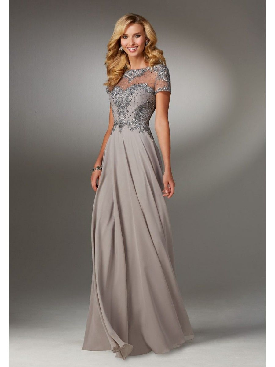 A Line Illusion Neckline Beaded Embroidered Mother Of The Bride 5603079