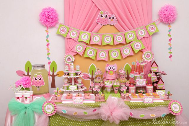 OwlThemed Baby Shower Pink owl Owl and Babies