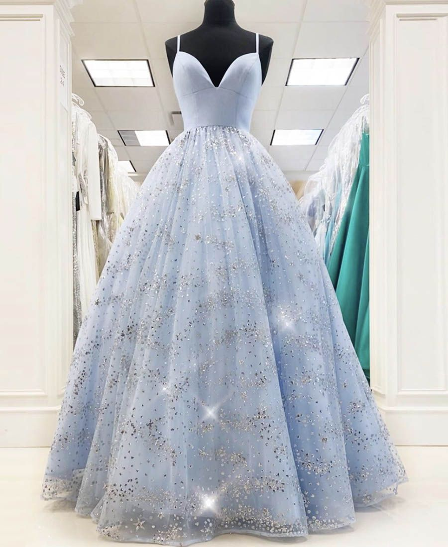 Blue Tulle Sequins Long Prom Dress Evening Dress Stunning Prom Dresses Prom Dresses Prom Dresses Ball Gown [ 1100 x 900 Pixel ]