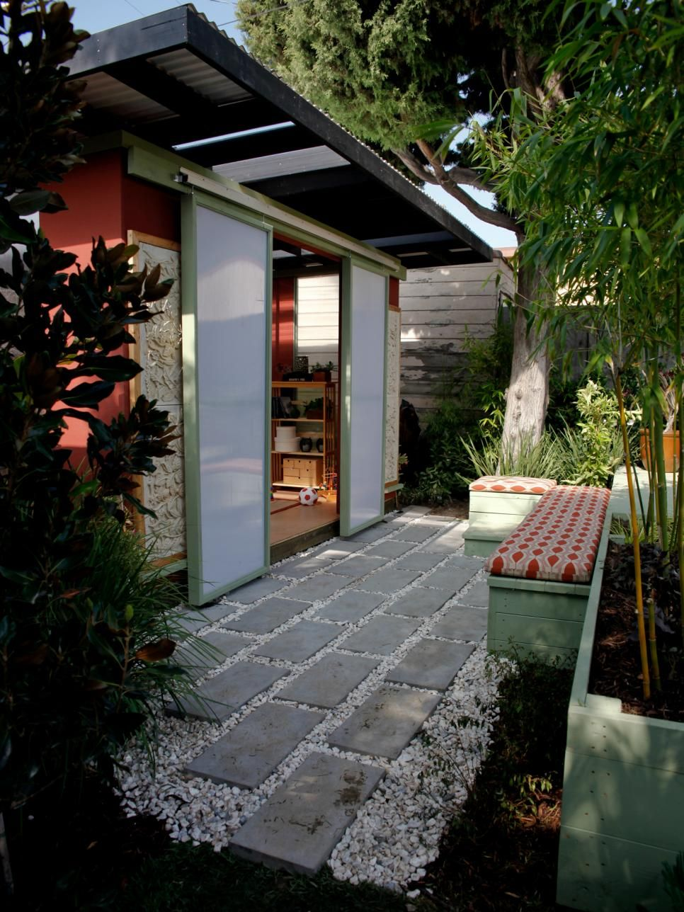 the exterior of this outdoor office is reminiscent of a balinese