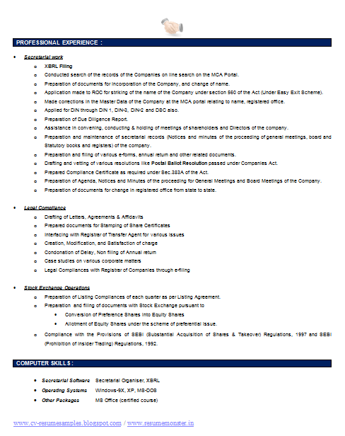Company Secretary Resume Template   Career