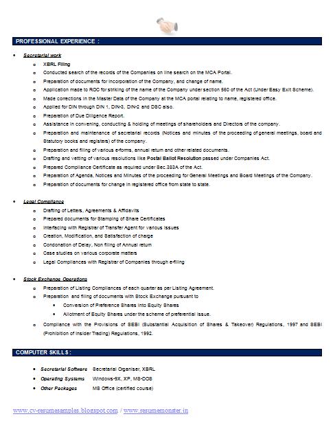 Company Secretary Resume Template (2) | Career | Pinterest