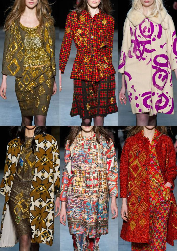 Libertine A/W 2013-  Oversized Wallpaper Pints – Art House Brush Marks – Gold Embroidery Highlights -Structured Polka Dot Prints - Rich Pattern Effects – Accidental Marks