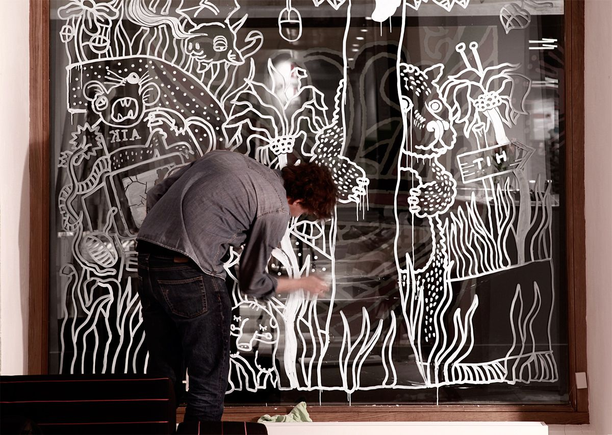 Best Window Posca Art Images On Pinterest Drawing Chalkboard - Beautiful painted window silhouettes interact outside world