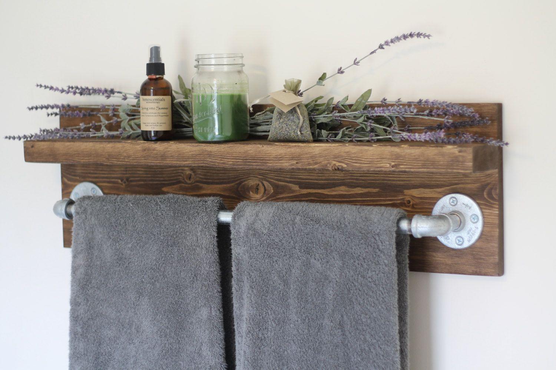 Rustic Industrial Bath Towel Rack Bathroom Shelf Rustic Home