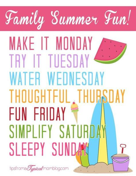 Summer Family Fun Activity Ideas Free Printable Summertime