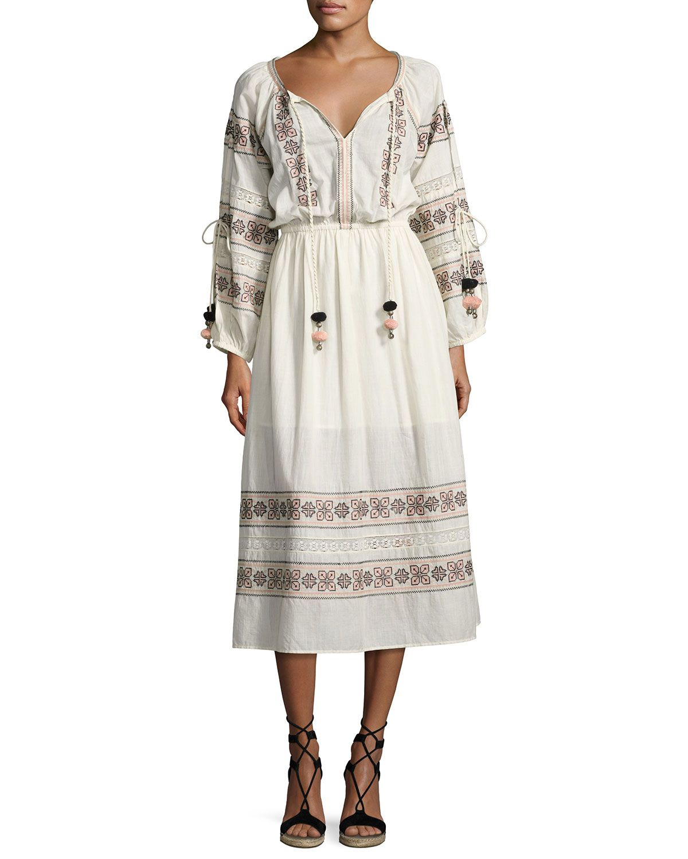 Loveshackfancy isla embroidered cotton dress beige beige cotton