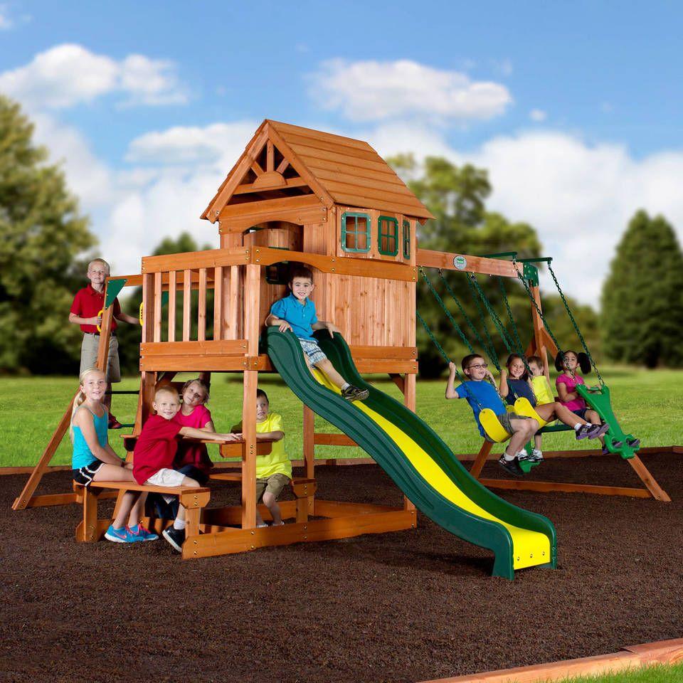 Springboro all Cedar Swing Set | Wooden swing set, Swing ...