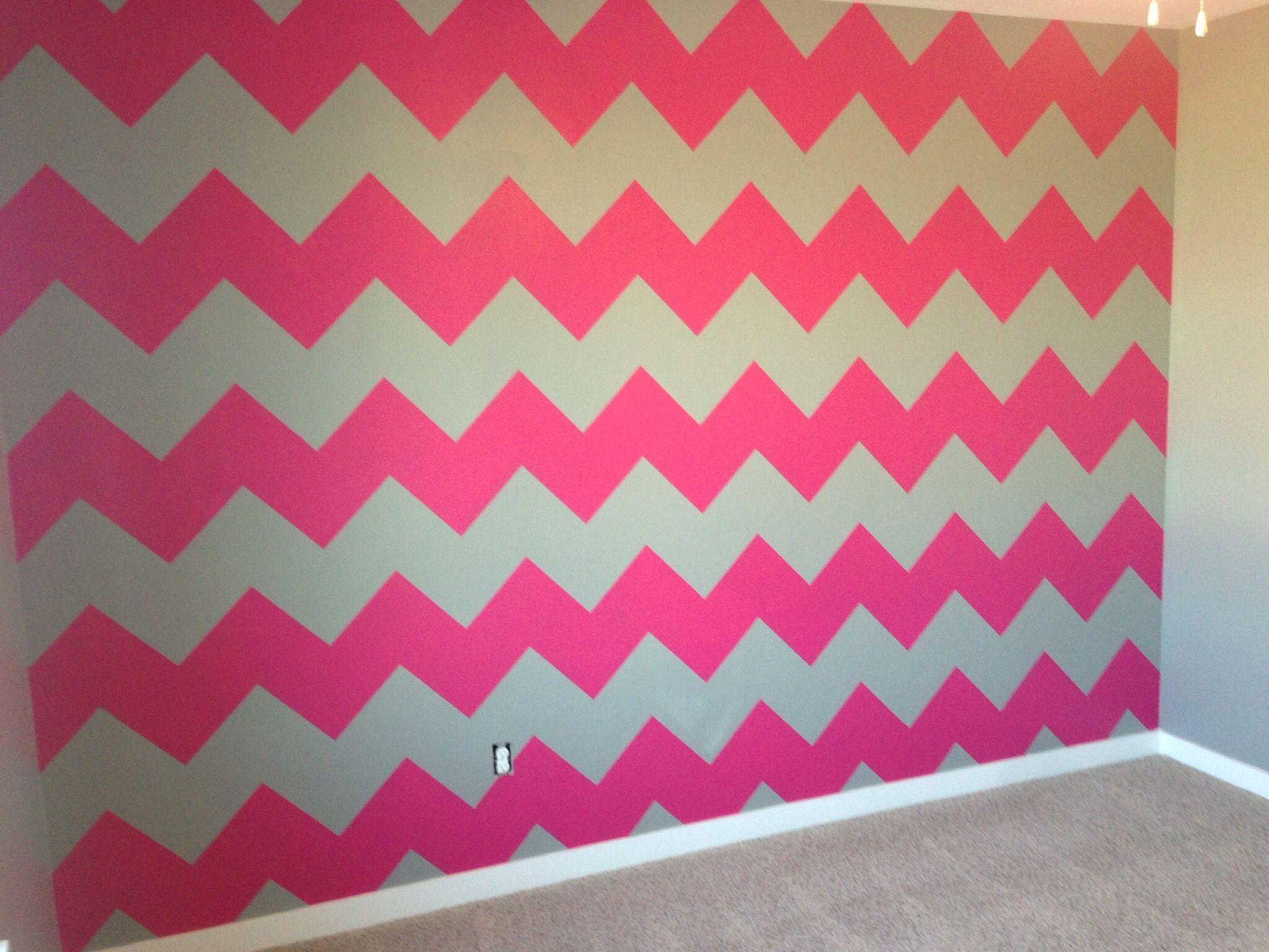Hot Pink And Gray Chevron Wall Baby Girl Room Pink Pink Girl Room Gray Striped Walls