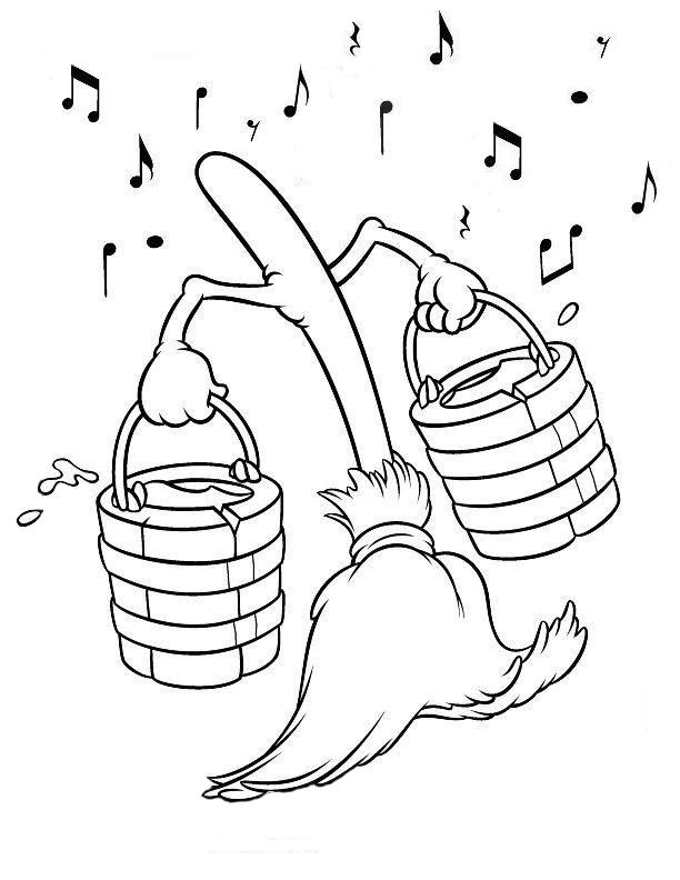 Fantasia Broom Coloring Page With Images Fantasia Disney