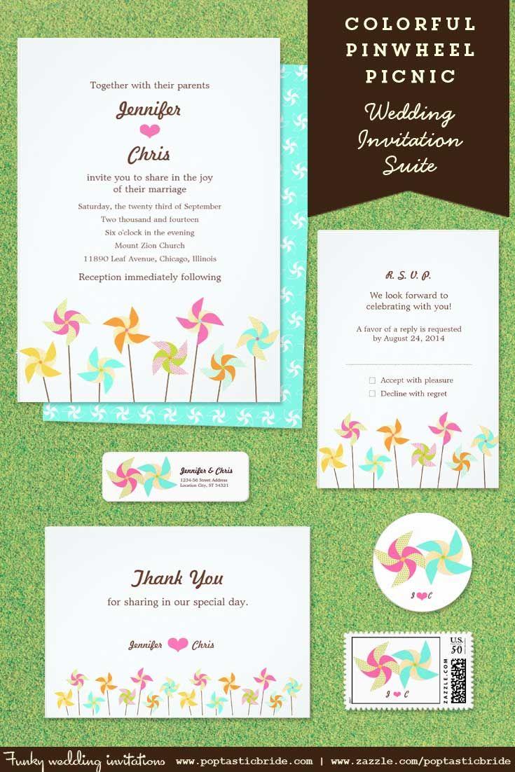 pinwheel wedding invitations | pinwheel wedding theme | retro ...
