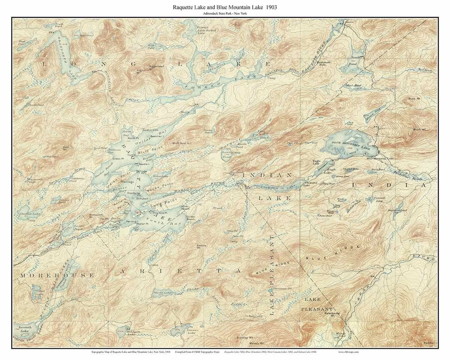 Raquette Lake  Blue Mountain Lake  USGS Topographic Map - Nyc map topographic