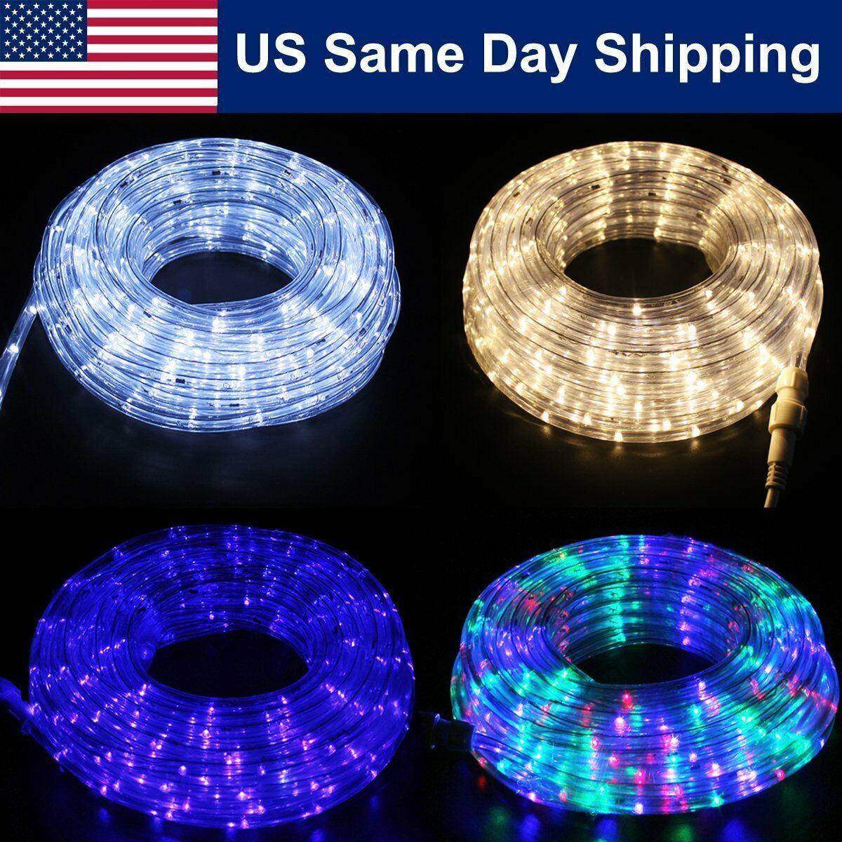 Details about 50'LED Rope Light Outdoor/Indoor Home