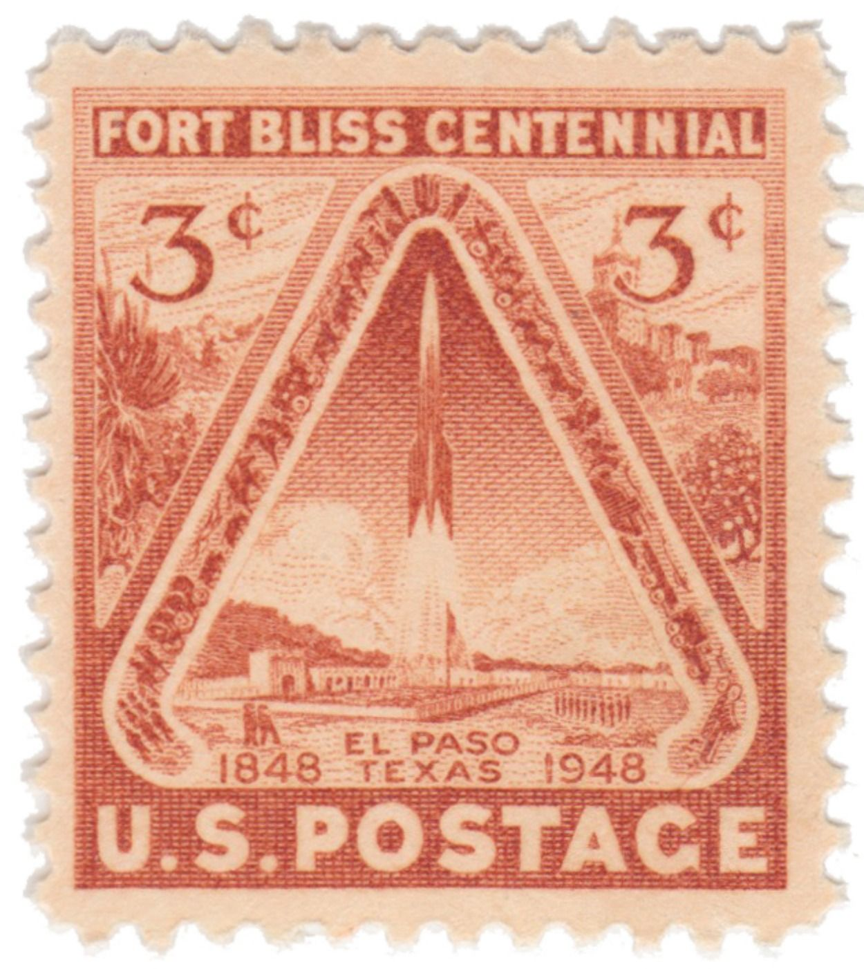 10 Unused Vintage Us Postage Stamps 1948 3c Fort Bliss
