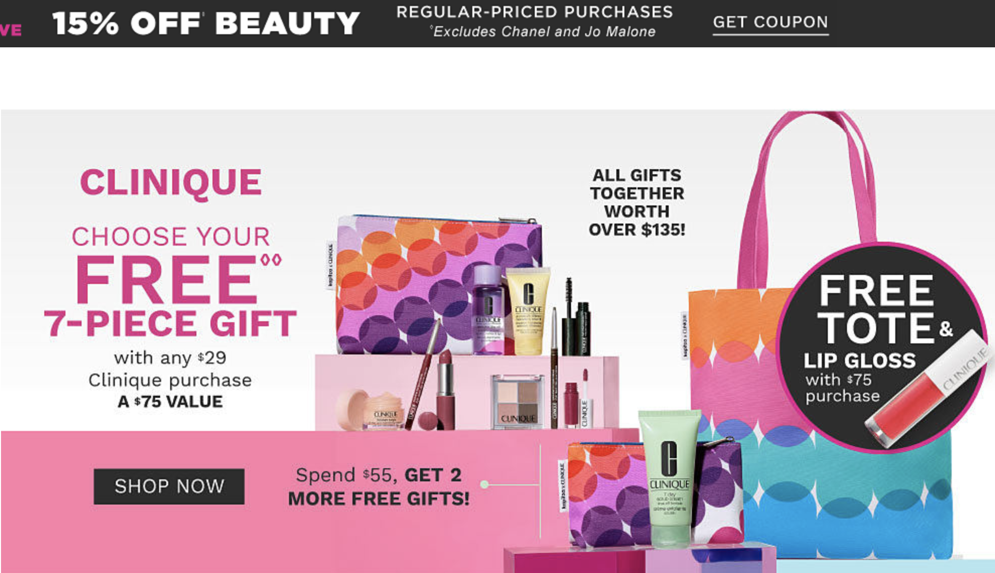 Belk 15 off beauty + 7 pcs gift with 29 Clinique