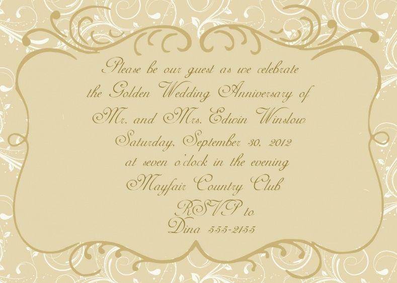 Golden Wedding Anniversary Invitation Wording  Wedding Ideas
