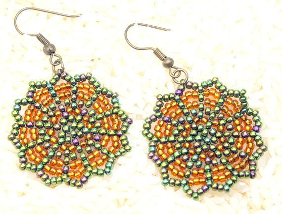 Green and gold peyote stitch handmade bead woven dangle earrings, Seed bead earrings, Drop earrings, art jewelry,  $20.00 use coupon code PIN10 for 10% discount