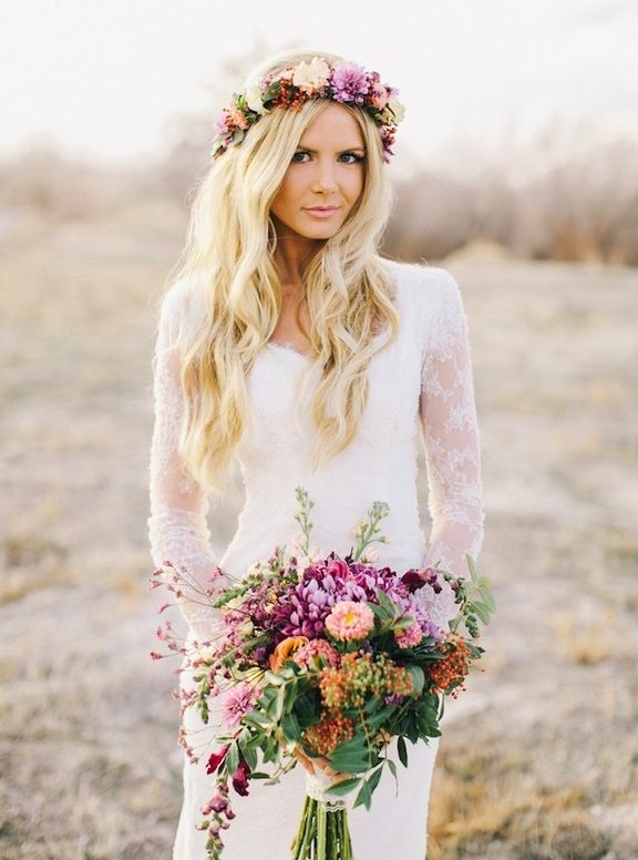 long waves flowers flower crown gypsy bride bridal goddess blonde ...