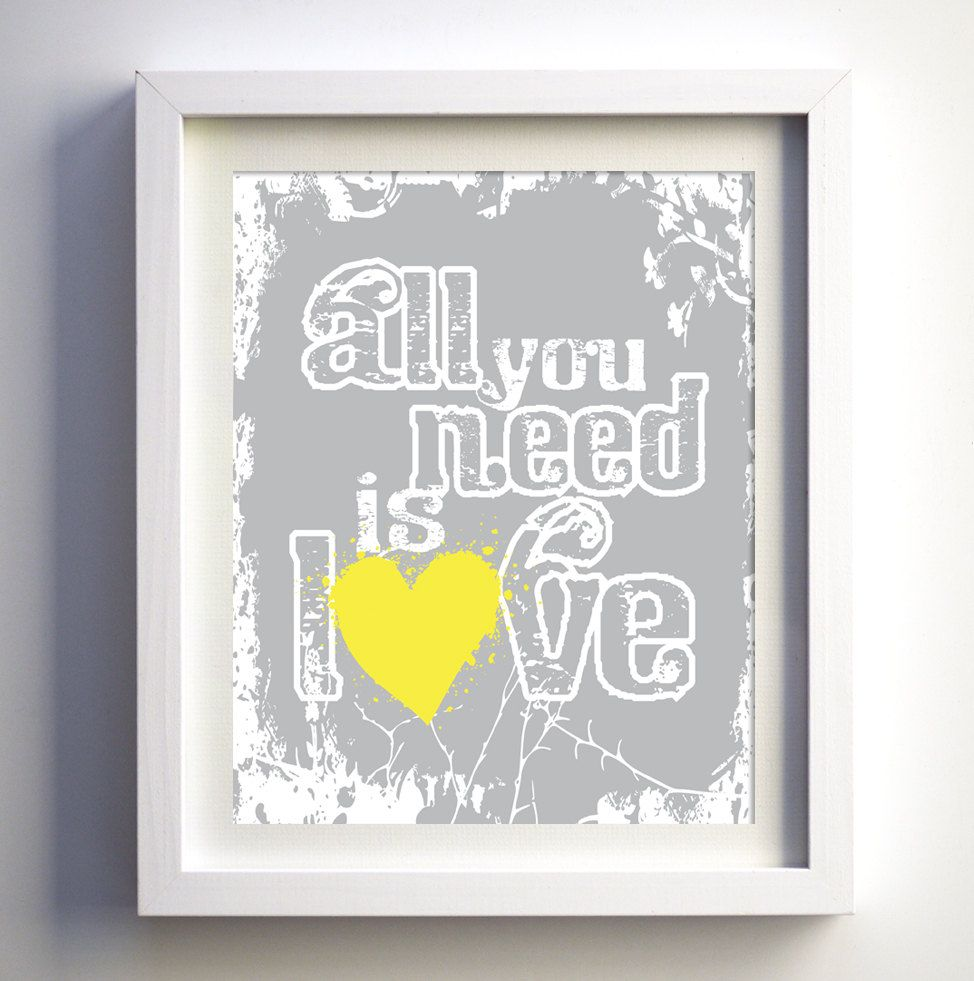 Gray And Yellow Room Decor Modern Wall Art   All You Need Is Love Print,  Gray U0026 Pink Girls Room Print Or Custom Color