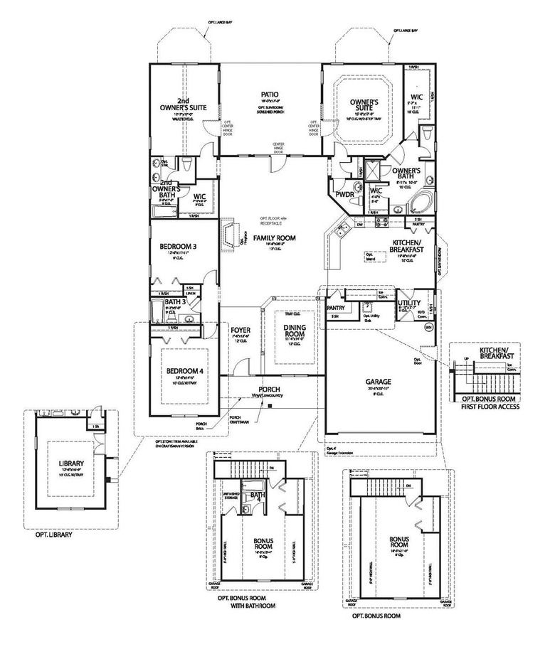 Two Owner S Suites Flank A Patio A Large Family Room Is The Center Of The 4 Bedroom 2 715 Square Foot Nantucket Pla House Floor Plans House Plans Floor Plans