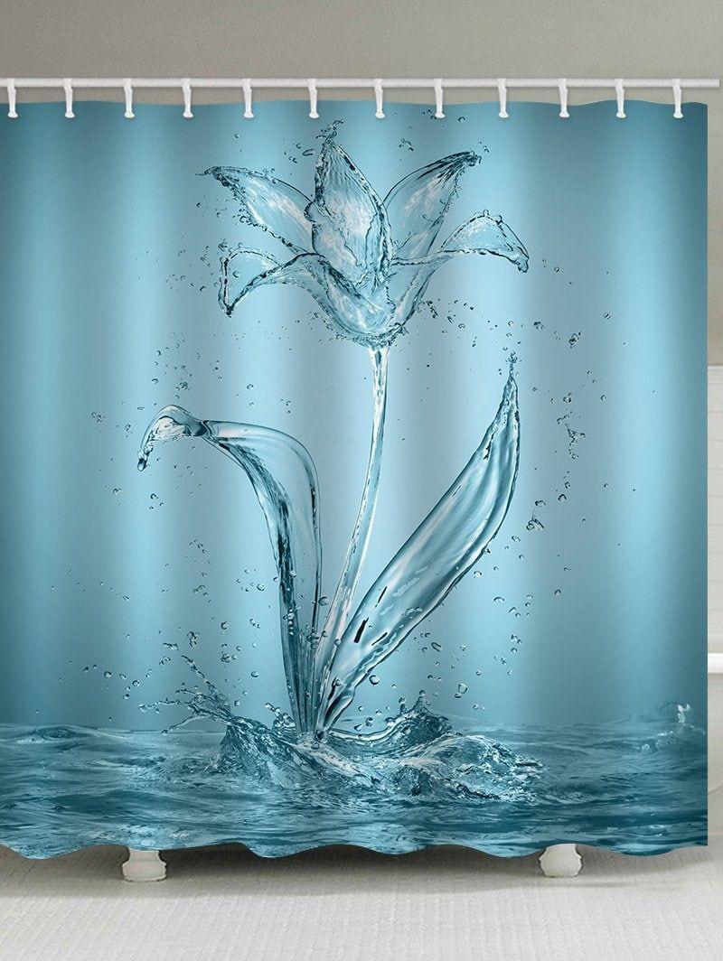Water Flower Print Waterproof Shower Curtain Shower Curtain