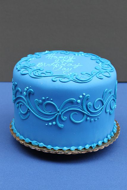 Deep Blue Simple Cake Designs Cake Decorating Designs Cake