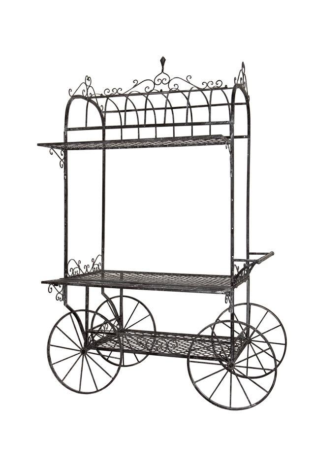 Ornate metal flower cart. (wheels are ornamental) 115 × 55 × 199 cm