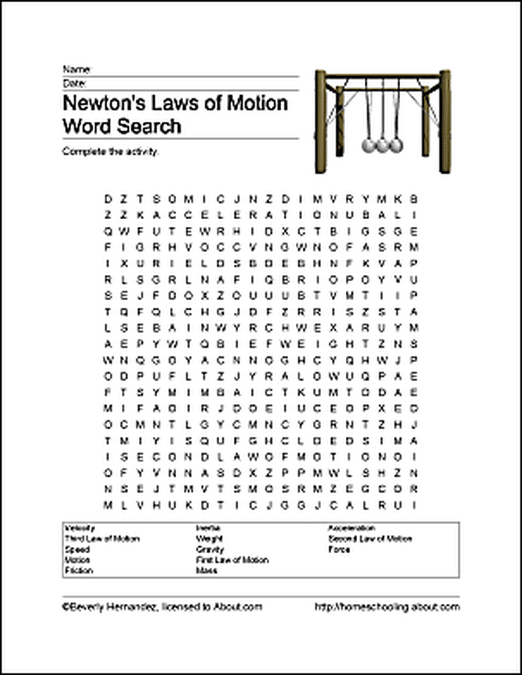 Periodic Table what is the first element of the periodic table trivia crack : Fun Ways to Learn About Newton's Laws of Motion | Word search ...