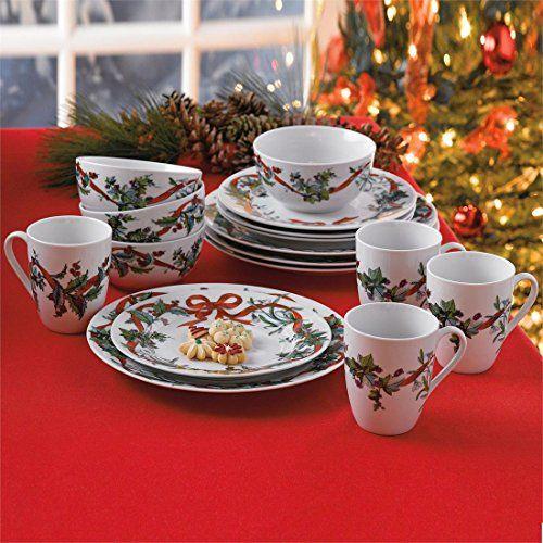 Brylanehome 16 Pc Christmas Dinnerware Set White 0 Brylanehome Http Www Amazon Com Dp B0 Christmas Dinnerware Christmas Dinnerware Sets Holiday Dinnerware