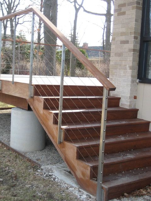 Wooden Stair Wood Rail Modern Railings And Raised Deck   Exterior Wooden Stairs And Railings   Deck Railing   Wrought Iron   Iron Stair   Concrete   Build