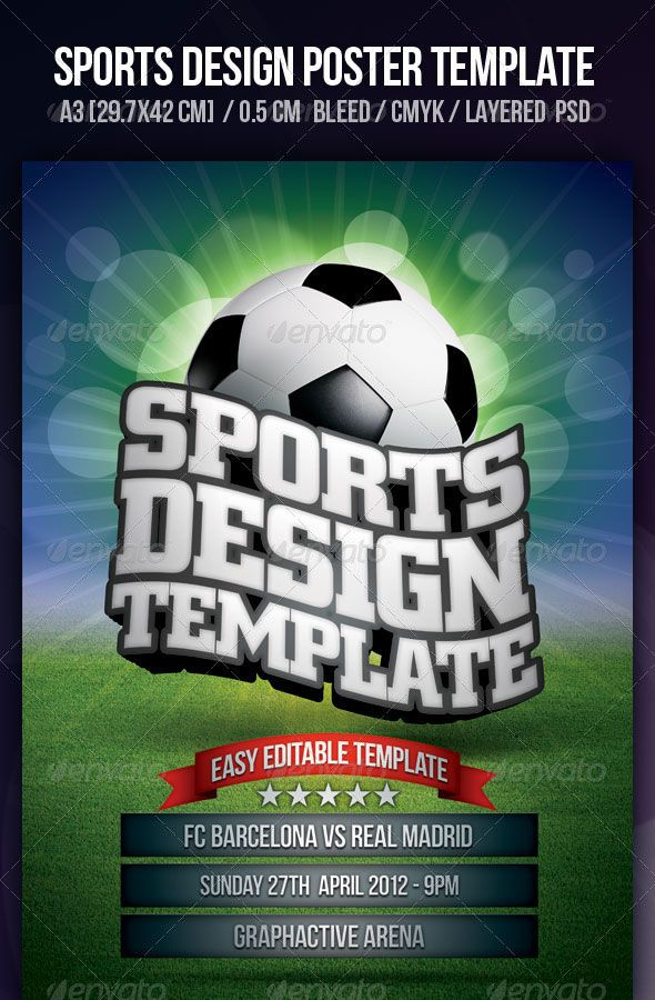 Sports Poster Design Template DESIGN Graphic Pinterest Flyer - football flyer template